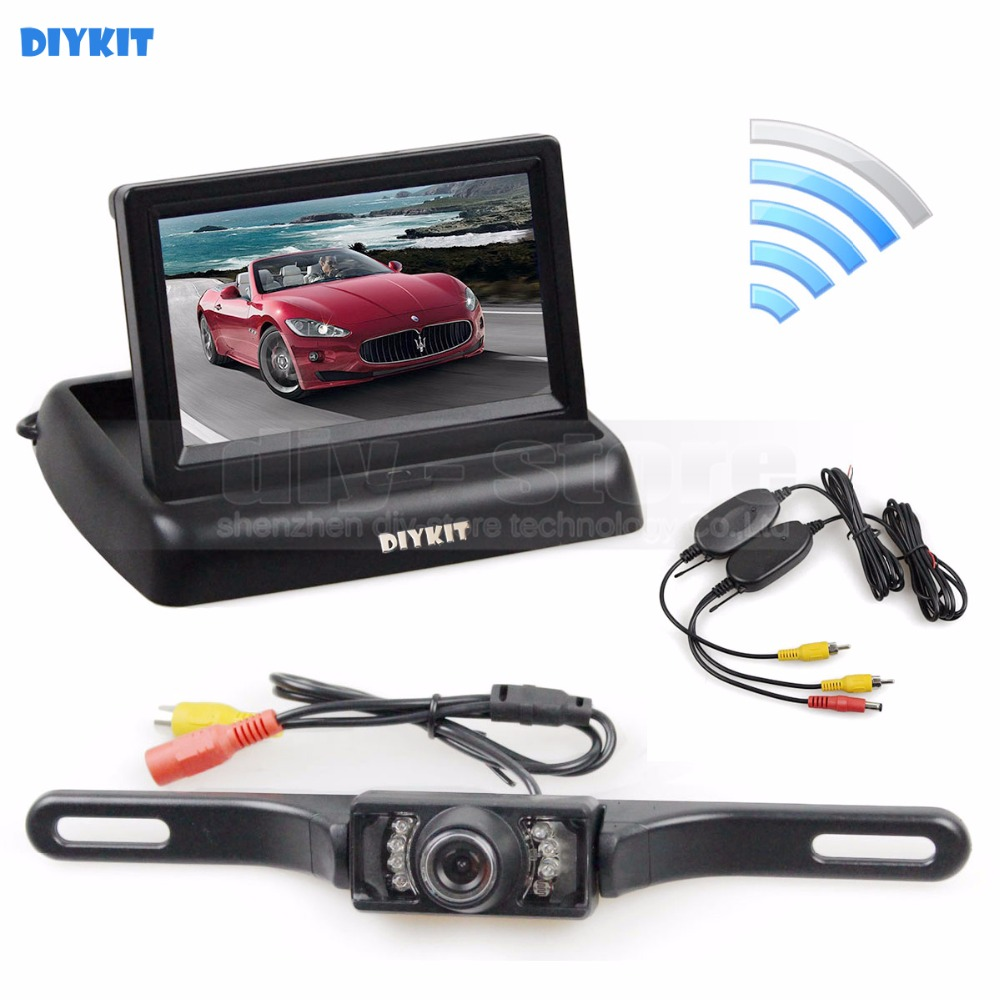 все цены на DIYKIT Wireless 4.3 Inch Car Reversing Camera Kit Back Up Car Monitor LCD Display HD Car Rear View Camera Parking System