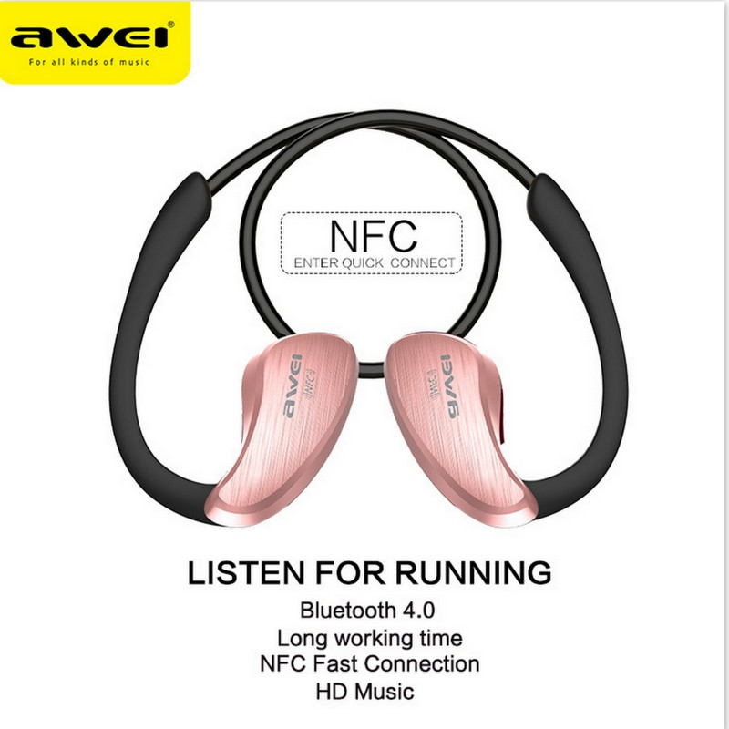 ФОТО Awei A885BL For xiaomi NFC HiFI Waterproof Wireless Bluetooth Headset V4.0 Earphones Music Voice control In ear Earbuds with Mic