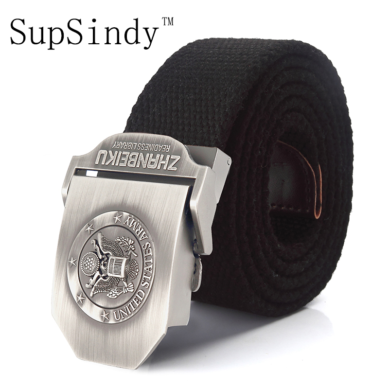 SupSindy Canvas Belt United States National Emblem Alloy Buckle Military Men Belt Army Tactical Belts For Men  Strap Top Quality