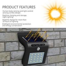 16 LED Motion Sensor LED Solar Power Path lamp Wall Light Outdoor lighting Garden waterproof porch Street Security Sunlight Lamp big promotion 15 led solar power panel sensor wall street light waterproof outdoor garden path spotlight decoration lamp