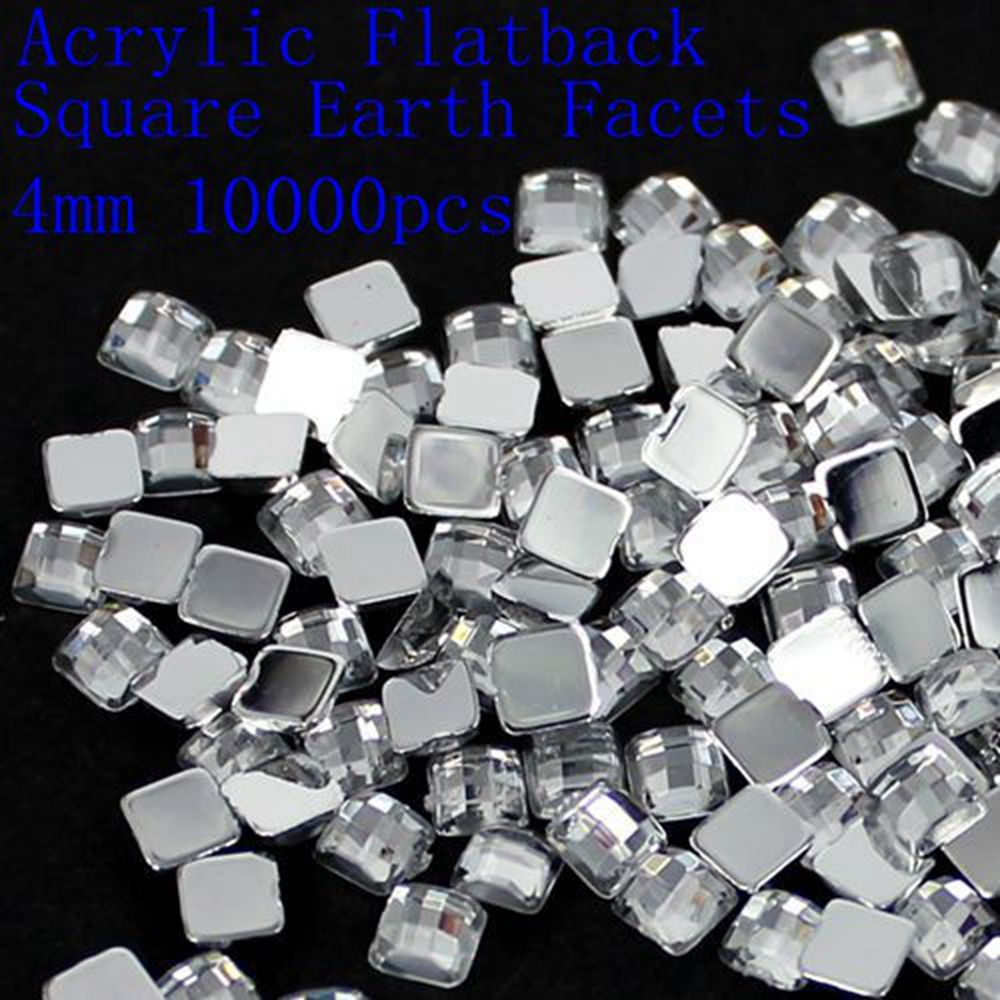 New 4mm 5mm 6mm 8mm 12mm Acrylic Flat Back Square Earth Facets Crystal Color Acrylic Rhinestone Glue On Acrylic Beads Decorate 12 facets of a crystal