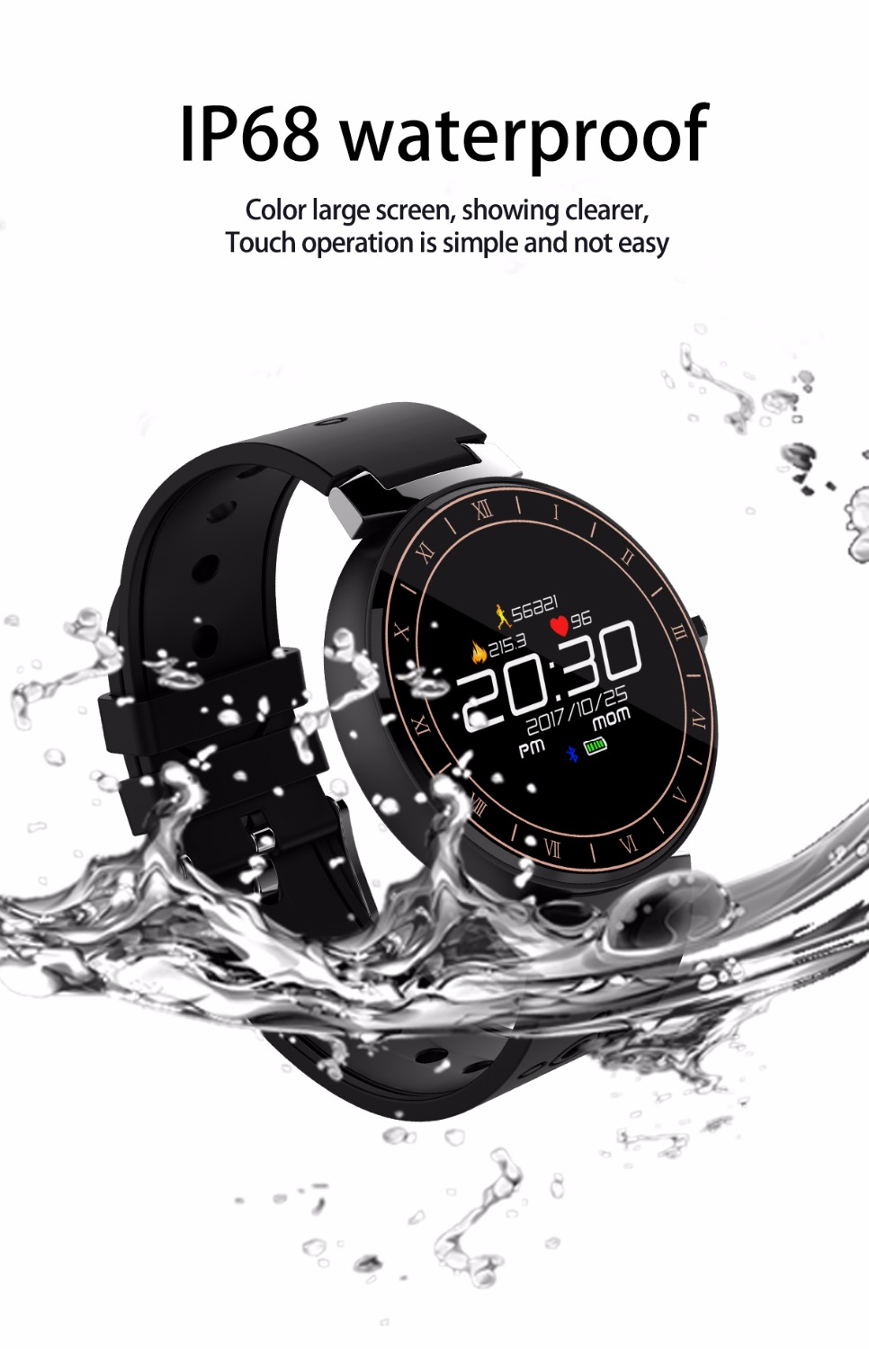 Fitness Tracker band Smart bracelet IP68 Waterproof Heart Rate Monitor Sport Wristband for Android IOS PK xiaomi mi band 3