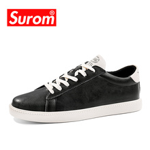 SUROM Men Shoes Brand Spring New Mens Casual Shoes Anti Slip Split Leather Sneaker Lace Krasovki tenis homens
