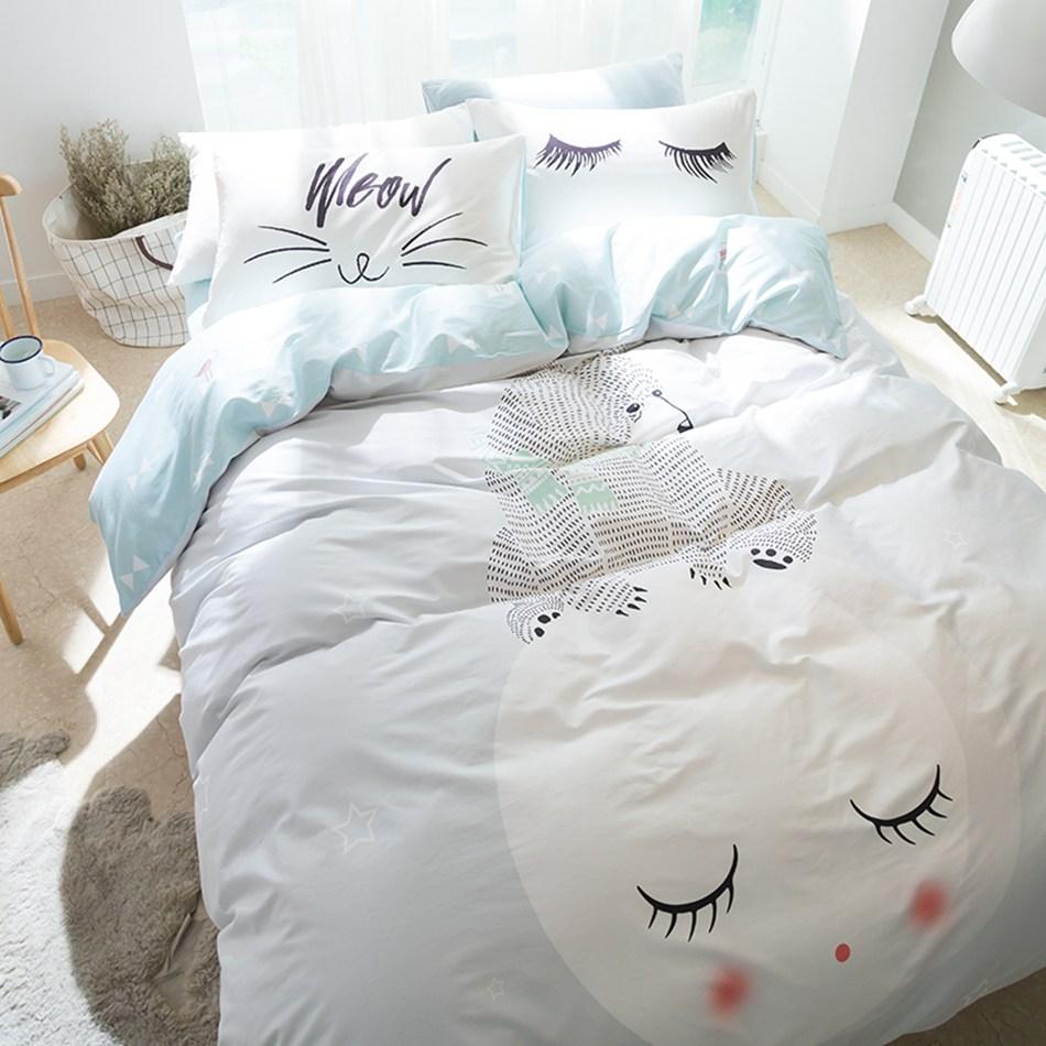 Cartoon Polar Bear 100% Cotton 4Pcs Bedding Set Queen Twin Size Bedsheet Duvet Cover Pillowcases Home Bed Linens
