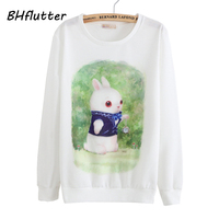 BHflutter T Shirt Women 2017 Terry Cotton Casual T Shirts Long Sleeve O Neck Rabbit Print