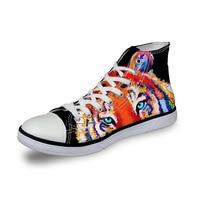 Noisydesigns casual women sneaker girls vintage high top flat shoes ladies vulcanized canvas footwear 3D tiger wolf fox print