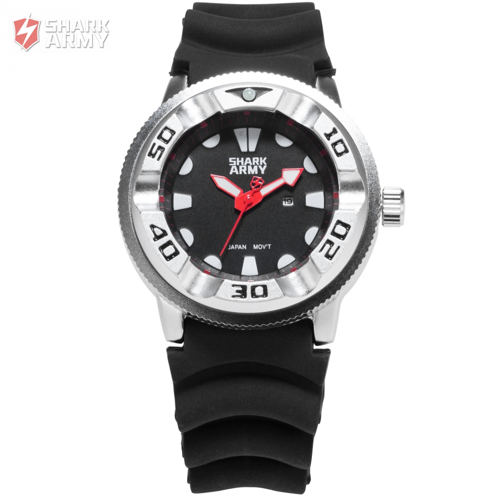 Shark Army Date Red Hands Electroplate Case Outdoor Hiking Sport Men Fashion Male Water Resistant Quartz Military Watch / SAW103