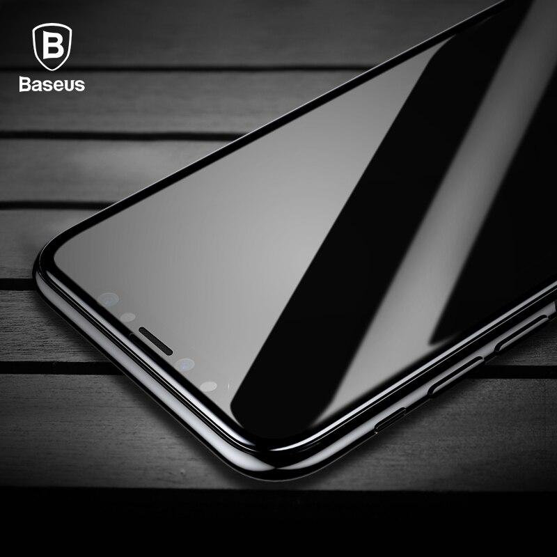 Baseus vidrio templado para el iPhone Protector de la pantalla de X 4D superficie completa de cristal para iPhone X cubierta frontal de película 0,3 MM película delgada