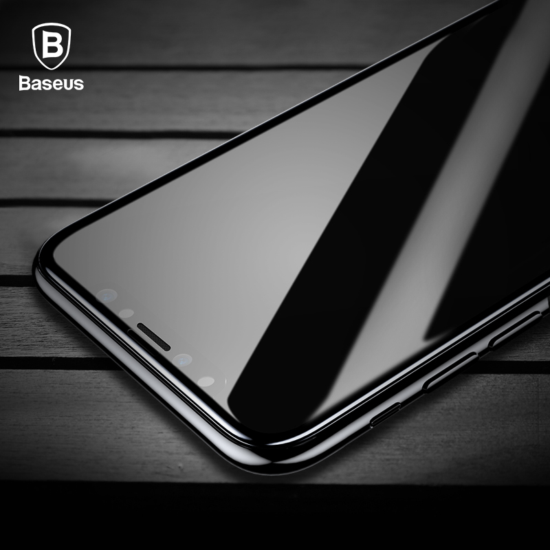 Baseus Tempered Glass For iPhone X Screen Protector 4D Surface Full Coverage Glass For iPhone X Front Film Cover 0.3mm Thin Film