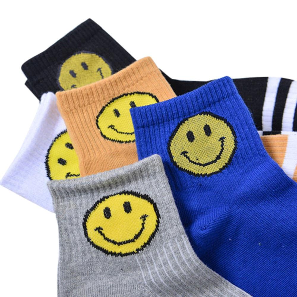 CHAMSGEND Neutral socks men and women couple socks casual fashion socks smiley short stripe striped sports funny socks