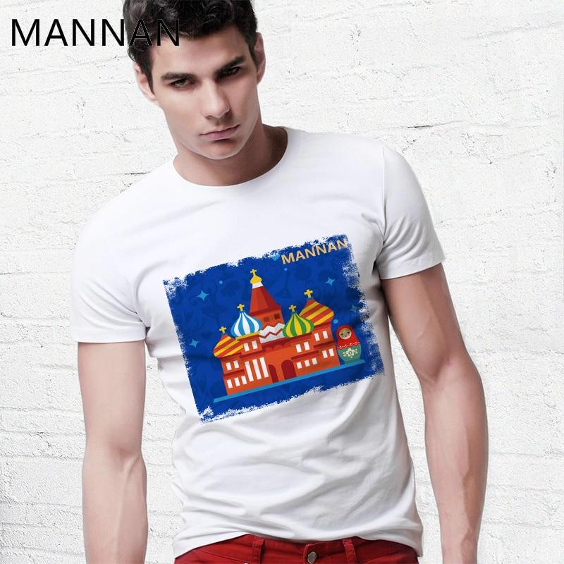 MANNAN russe Kremlin série T Shirt hommes Modis T-shirt blanc cassé Hip Hop haut Harajuku Anime Crossfit Streetwear