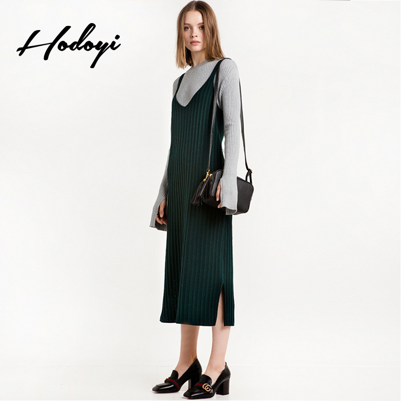 Hodoyi New Fashion Women Knitted Tank Dress Solid Green Sleeveless Sweater Dresses Casual Side Slit Bodycon