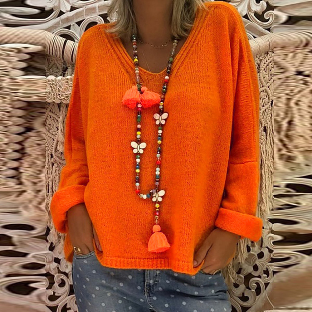 2019 V Neck Solid Women Sweaters Women Casual Loose Deep V Neck Solid Color Knitted Tops Sweater And Blouse