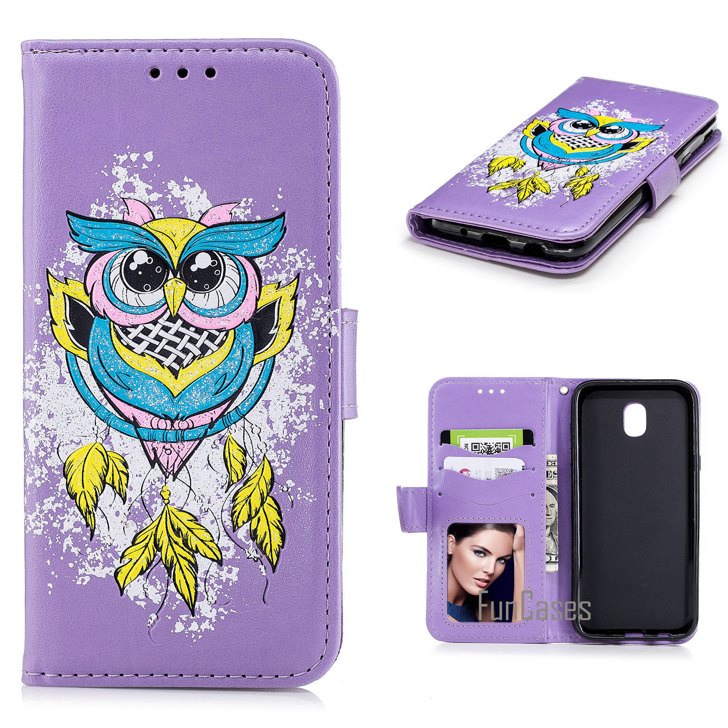 New for Samsung Galaxy J530 EU Case Luxury Ultra-Thin PU Diamond Owl Pattern Leather Cases for Samsung Galaxy J530 Cover Phon