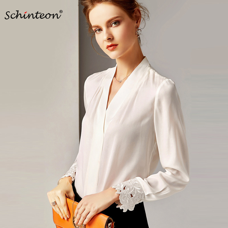 2019 Schinteon Vintage Real Silk Blouse Women V Collar Long Sleeve Solid Color Shirt Pullover Patchwork