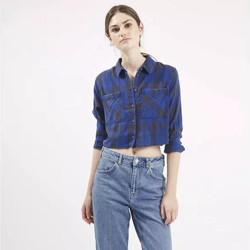 Brand Designer Style Bright font b Tartan b font Check Shirts Women 100 Cotton Short Plaid