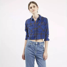 Brand Designer Style Bright Tartan Check Shirts Women 100% Cotton Short Plaid Shirts