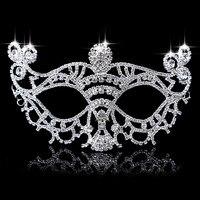 2018 יוקרה החדשה ריינסטון קריסטל מסכות מסכות ונציאניות מסכת חתונה רוקדת לנשים סקסי Maske צלחת כסף