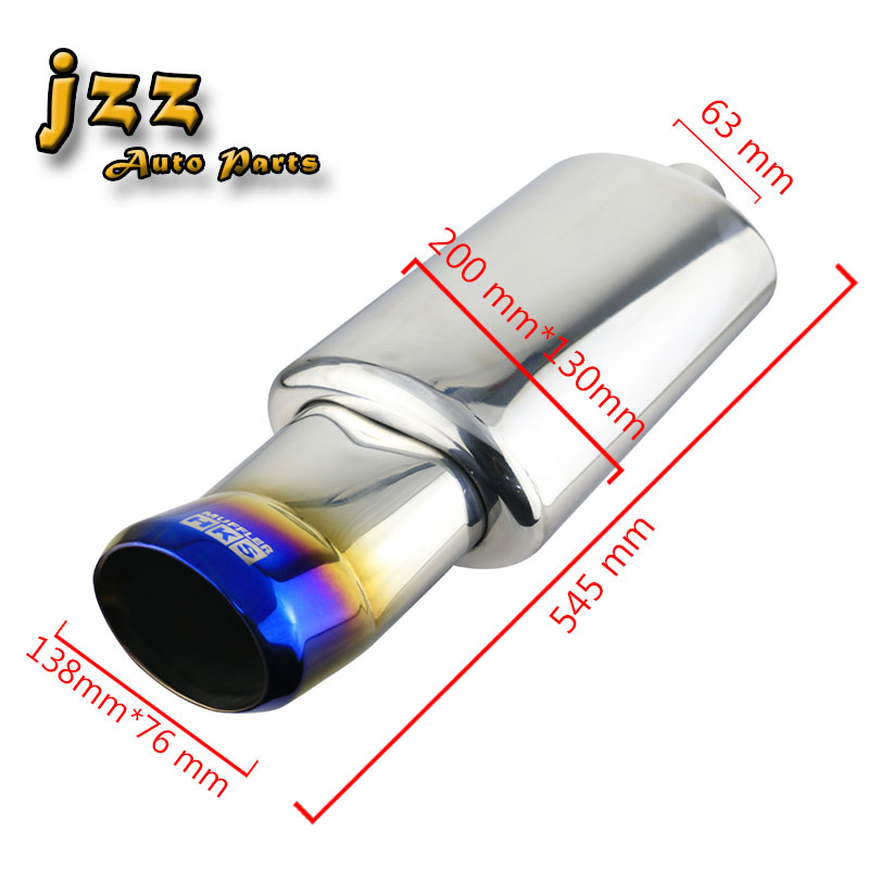 High Quality Stainless Steel Blue Burnt Autos Dual Exhaust Muffler Pipe Tailpipe
