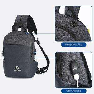 Image 4 - OZUKO תכליתי חבילת חזה גברים אופנה כתף Crossbody תיק זכר מים עמיד שקיות חזה USB טעינת נסיעות קלע תיק