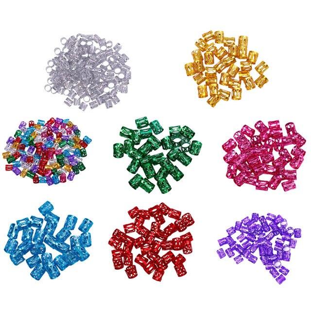 50 piezas de 8mm coloridas cuentas de Dreadlock durables ajustables anillos de Trenza para el cabello tubos pinzas accesorios para el cabello