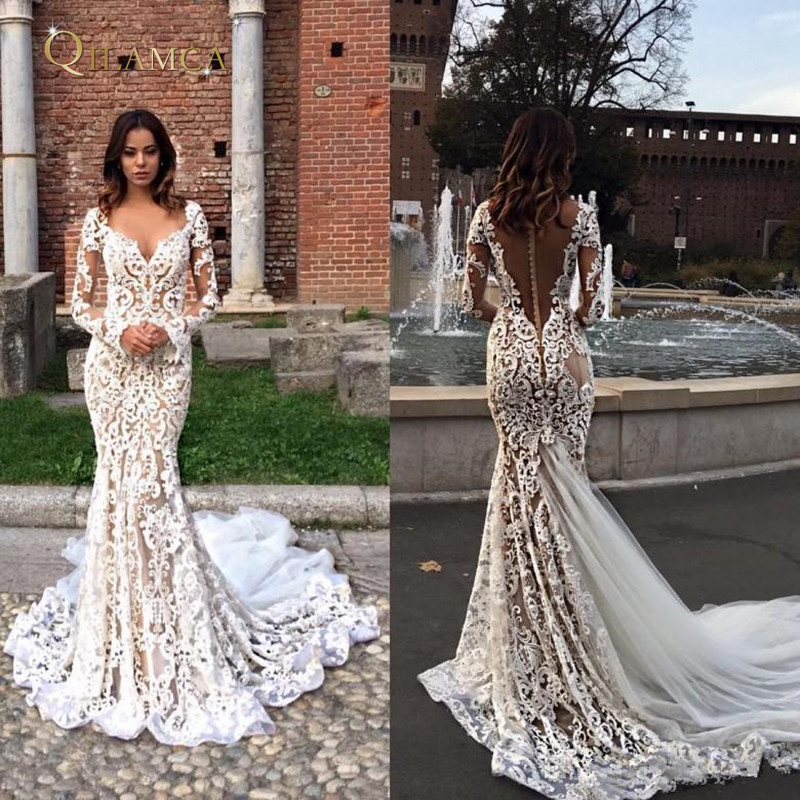 Modest Lace Mermaid 2019 Wedding Dresses Long Sleeves V Neck Trumpet Illusion Backless Bridal Gowns Sweep