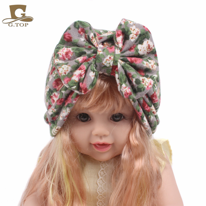 NEW girls vintage big Bow Stretch Turban girl bow beanie cap headbands 18 colors imucci 13 colors solid muslim turban cap women elastic beanies hat bandanas big satin bonnet indian women turban black red
