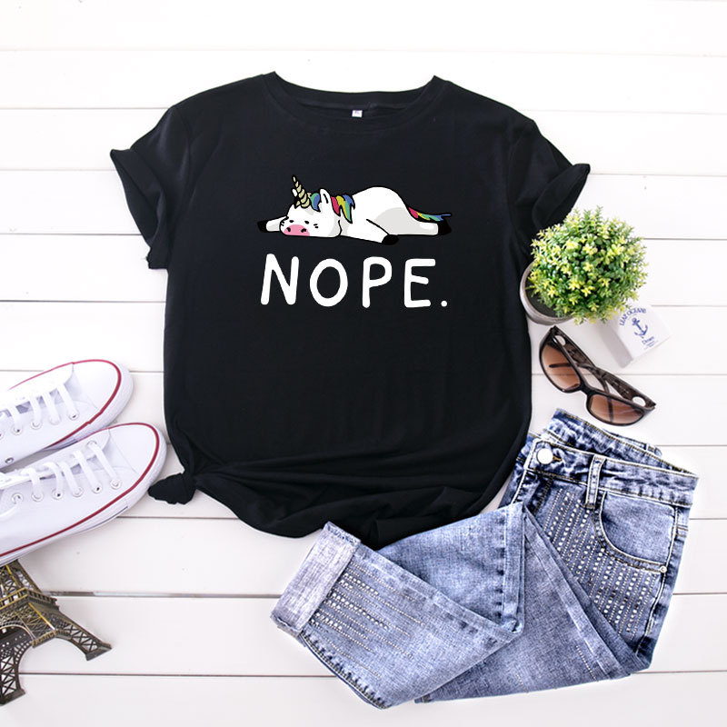 nope tshirt women graphic tees plus size korean clothes japanese casual print o-neck harajuku 2019 aesthetic tee streetwear