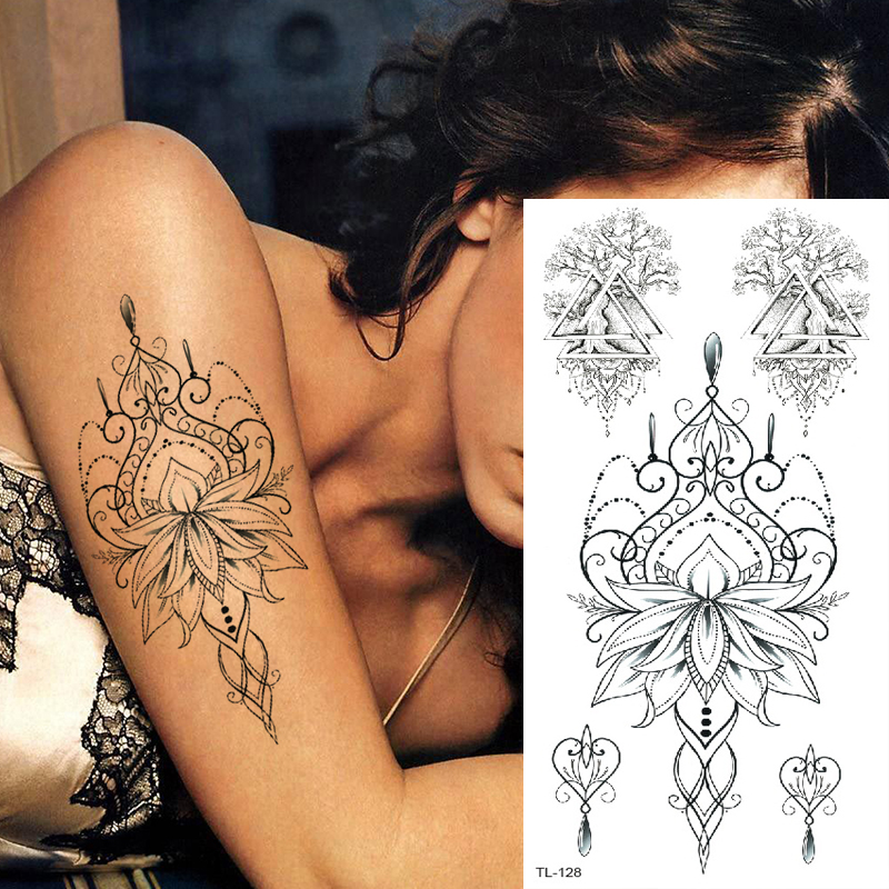 Tattoo & Body Art Mandala Tattoo Women Mehndi Henna Tattoo Stickers Temporary Tattoo Sticker Sexy Arab Indian Lotus Flower Art
