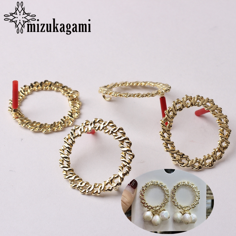 Zinc Alloy Golden Big Hollow Round Circle Base Earrings Connector Charms 30mm 6pcs/lot For DIY Drop Earrings Making Accessories