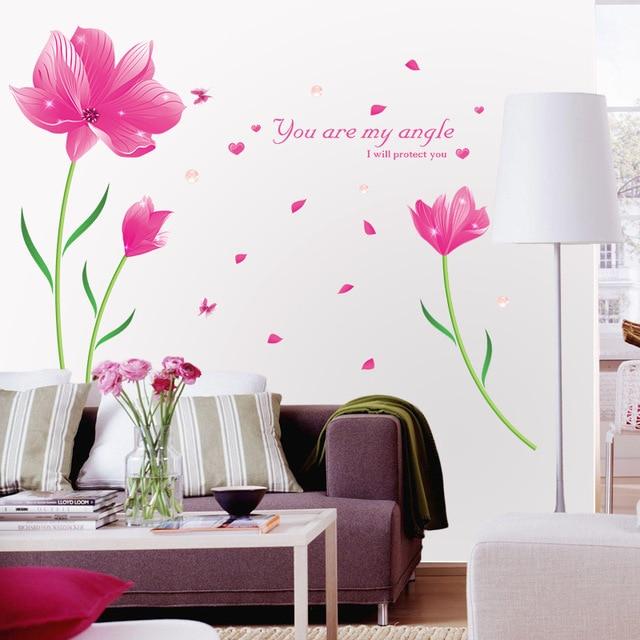 Hersteller Großhandel Traum Lila Blumen Schlafzimmer Wohnzimmer Eingang  Romantische Dekoration Wandaufkleber Zwei Farben Optional