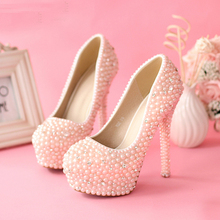 Sweetness Pink 5.5Inches Pearls High Heel Bridal Shoes Dazzing Wedding Shoes Women Rhienstone Pumps Jeweled Party Prom Shoes