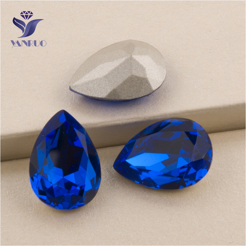YANRUO #4320 All Sizes Capri Blue Drop Point Back Stones Setting Sew On Crystal Strass Rhinestone For Jewelry Craft