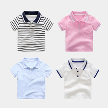 Casual Summer Cotton Baby Girls Boys Short Sleeved T-shirt Patchwork Striped Children Tees Kids Tops For Age 2-7 Years Old