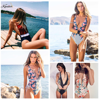 Kmnovo 2018 Floral One Piece Swimsuit Sexy Deep V Swimwear Halter Bathing Suit Women Bodysuit One