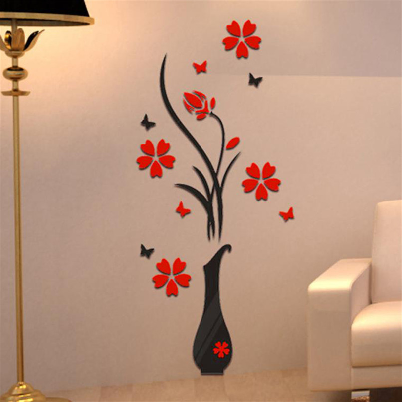 Wall stickers Bedroom Decoration Cartoon DIY Vase Flower Tree For Office Living room TV Wall Decoration 3D Wall Stickers JY31#F (3)