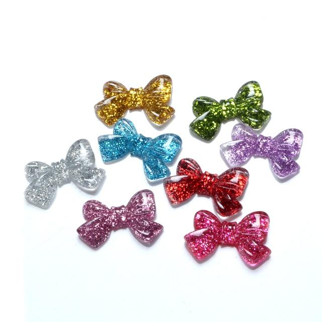 30Pcs Mixed Resin Bling Bowknot Decoration Crafts Beads Flatback Cabochon Scrapbooking DIY Embellishments Kawaii Diy Accessories