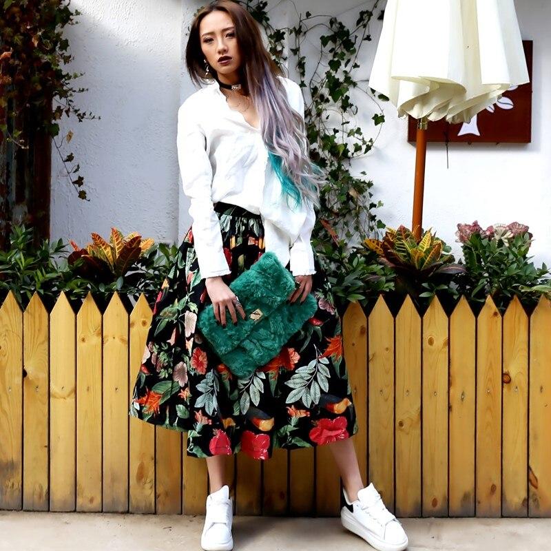 Robe Style Vintage Taille De Bal Tulle École Haute Patineuse Femmes Fleur Partie Imprimer Automne Décontracté Harajuku Jupe Printemps Midi w87nRq