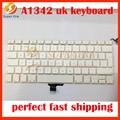 New keyboard clavier a1342 uk para macbook pro 13 ''unibody a1342 mc207 mc516 teclado reino unido com botão de energia sem topcase
