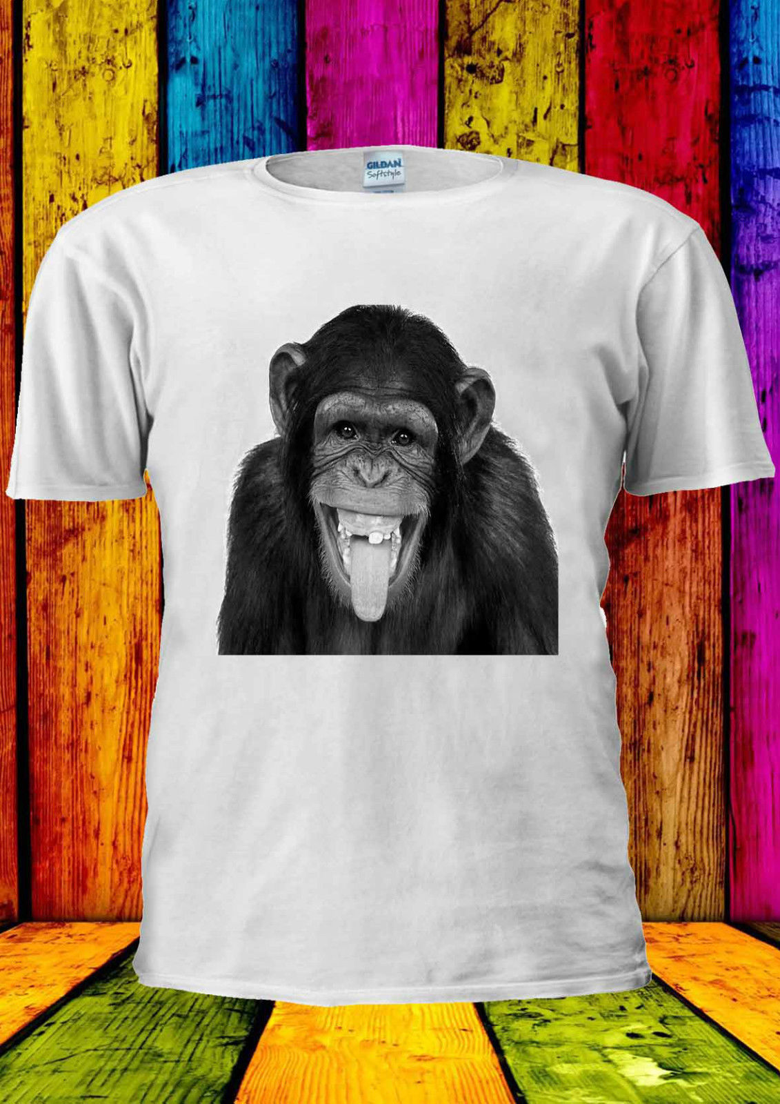 Funny Monkey Smiling Laughing Tumblr T-shirt Vest  Top Men Women Unisex 1453 Tops Tee New free shipping