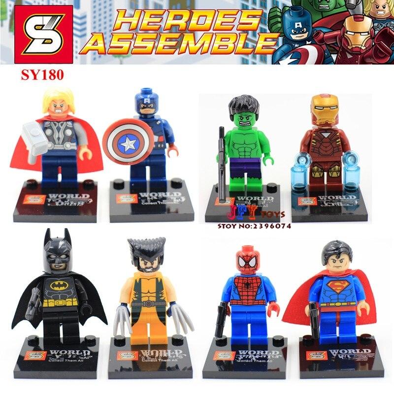 8pcs SY180 Ironman spiderman Super Bat man Captain America hulk Thor super heroes marvel avengers building blocks toys juguetes singlesale captain america 3 with car civil war marvel super heroes the avengers minifig assemble building blocks kids toys