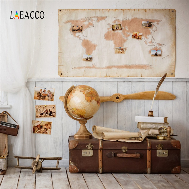 Laeacco Flying World Travel Dream Baby Room Scene Photography Backgrounds Customized Photographic Backdrops For Photo Studio