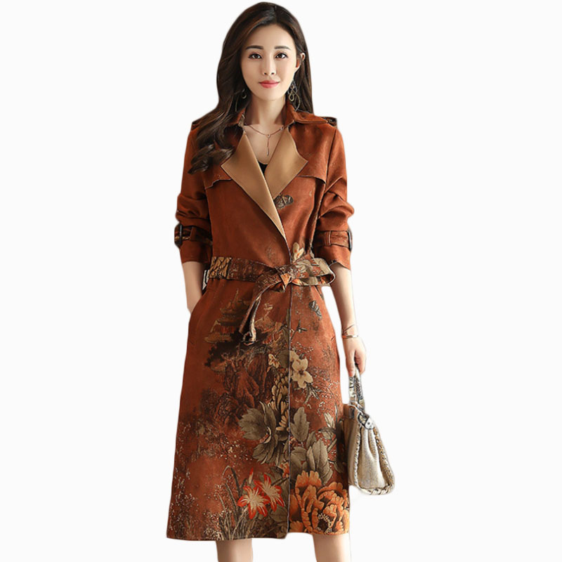 2019 new arrival women autumn fashion youth   trench   vintage personalized loose coat female coat suit collar overcoat ZL775