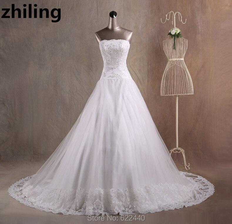 Chapel Train Ball font b Gown b font font b Wedding b font Dresses Strapless font