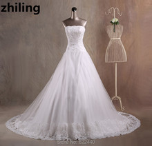 Chapel Train Ball Gown Wedding Dresses Strapless Bridal Gown Appliques Beaded Wedding Gown Custom Size Color