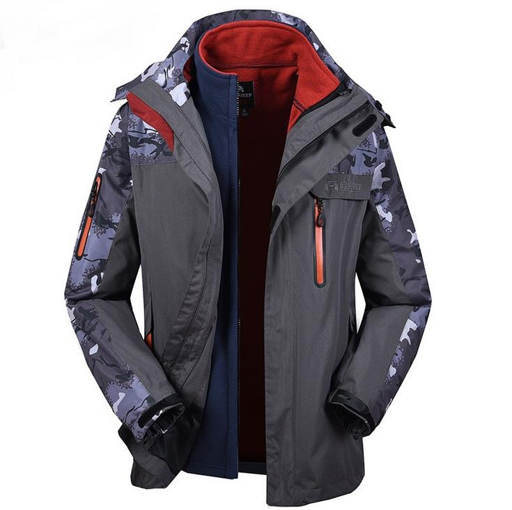 NIANJEEP Brand Outdoor Jacket Waterproof Sports Men Windproof Climbing Hiking clothes skiing jacket winter jacket 3 in 1 J014 2015 new outdoor climbing clothes two piece men sports suits coats winter waterproof men s skiing jacket snowboard outerwear