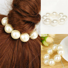 Women Girl Hair Band Big Pearl Hair Ring Bands Rope Hair Ties Hair Accessories Headwear