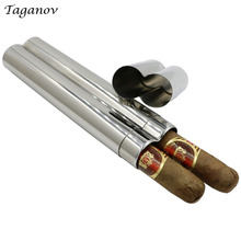 Cigarholder 304 Stainless Steel Two Cigars Tube Box Mirror Polished Portable Cigar Accessories Men boy Gifts Cigar Holder Cohiba