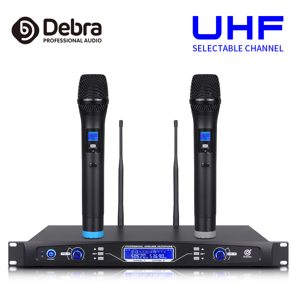 Debra audio Pro 80*2 selectable channel UHF Wireless Microphones System with Dual Mics for Professional singer Stage KaraokeDebra audio Pro 80*2 selectable channel UHF Wireless Microphones System with Dual Mics for Professional singer Stage Karaoke