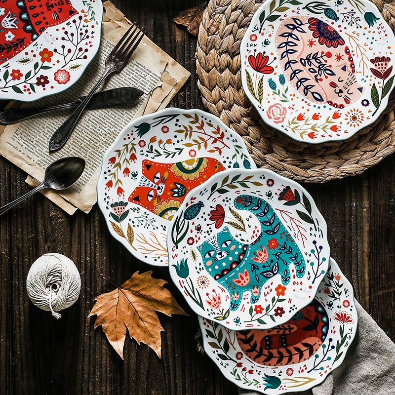 8 Inches Ceramic Dinner Plates Japanese Hand painted Cartoon Cat Plate Creative Colorful Household Dishes Dinnerware